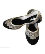 Women Shoes Indian Handmade Leather Traditional Ballerinas Black Mojari ... - $24.99