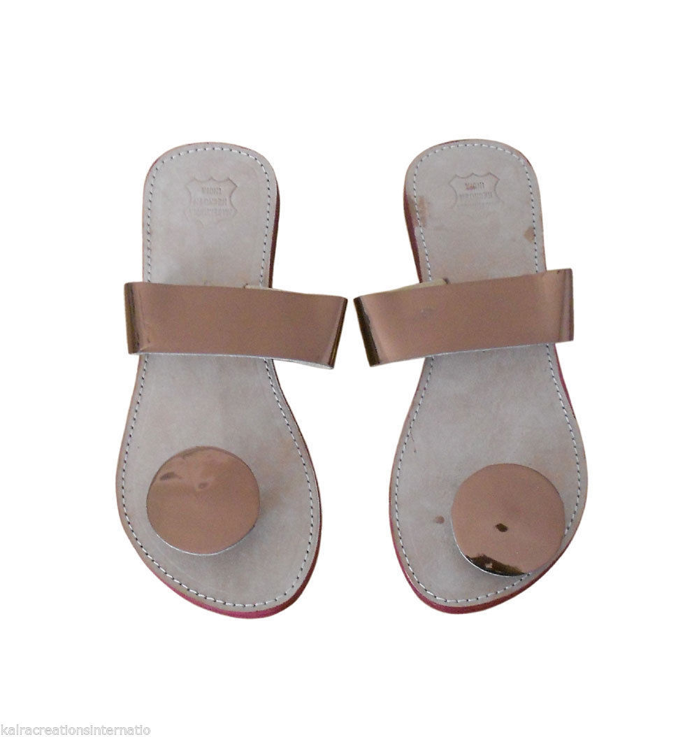 Women Slippers Indian Handmade Traditional Leather Flip-Flops Flats US 6-10