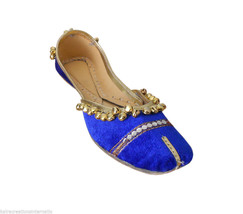 Women Shoes Indian Handmade Leather Velvet Blue Ballet Flats Mojari US 6-8  - $27.99