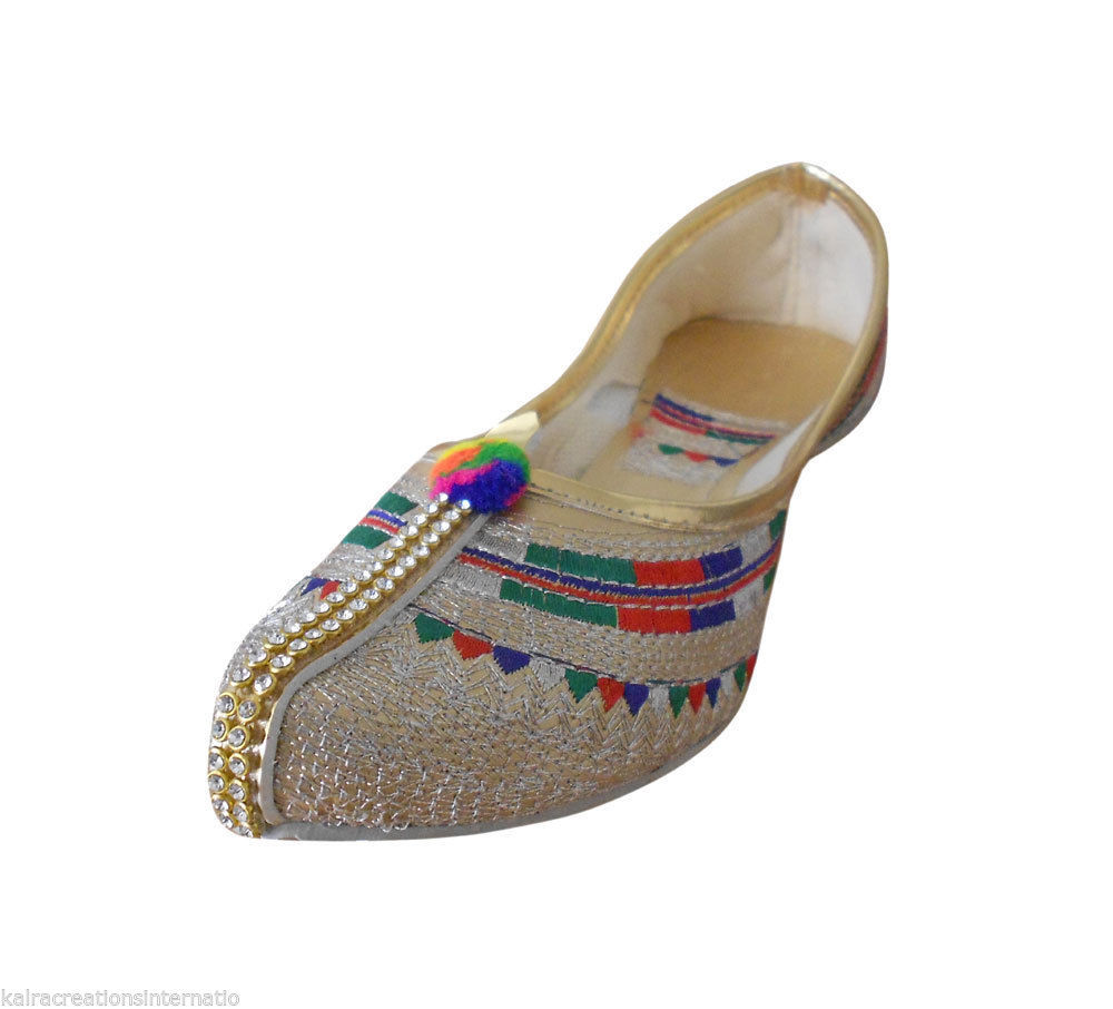 Primary image for Women Shoes Indian Designer Handmade Multi-Color Pointy-Flats Jutties US 5-8