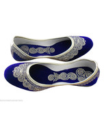 Women Shoes Indian Handmade Traditional Leather Ballerinas Blue Jutties ... - $24.99