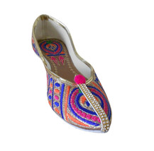 Women Shoes Traditional Indian Wedding Handmade Mojari Pointy Flats US 6 - $24.99