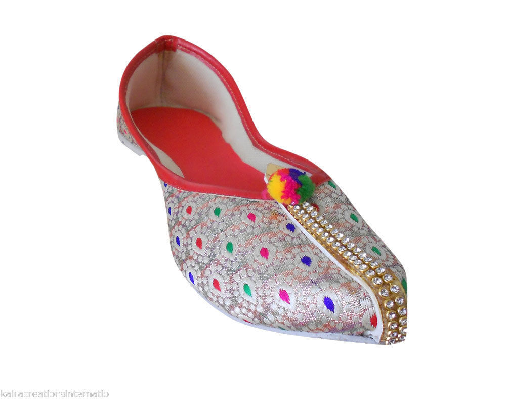 Primary image for Women Shoes Indian Wedding Mojari Khussa Handmade Pointy Flats Jutties US 5