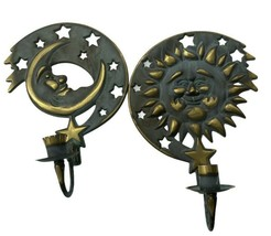 Moon Sun Stars Wall Candle Sconce 1994 Partylite Verdigris Brass 10 1/2″ - $24.99