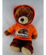 "Oregon Beavers 9"" Brown Plush Teddy Bear With Orange Hoodie Plushland 2011 - $6.92"