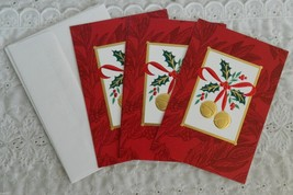 4 Hallmark Christmas Greeting Cards & Foil Envelopes Holly Berry Jingle ... - $4.99