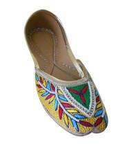 Women Shoes Indian Handmade Leather Mojari Wedding Flip-Flops Flat Jutti... - $29.99