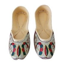 Women Shoes Indian Handmade Leather Flip-Flops Maroon Traditional Mojari... - £23.13 GBP