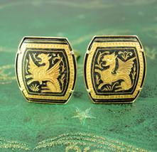 Vintage Dragon Cufflinks 24kt gold Damascene Oriental Asian winged gothic creatu - $225.00
