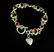 Garnet Charm bracelet Stunning gemstone Loaded sparkle January birthston... - $125.00