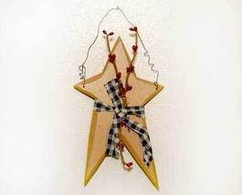 Primitive Country Mustard Star and Berries - $5.00