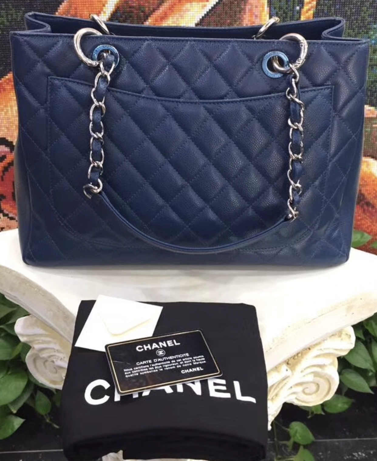 8947529a43ad AUTHENTIC CHANEL QUILTED CAVIAR GST GRAND SHOPPING TOTE BAG BLUE SHW ...