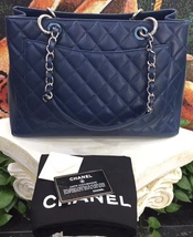 AUTHENTIC CHANEL QUILTED CAVIAR GST GRAND SHOPPING TOTE BAG BLUE SHW  image 2