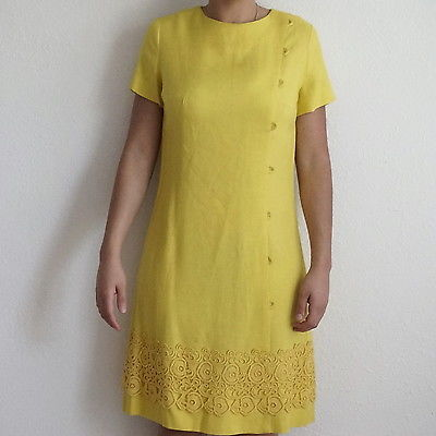 ff7617fbd24 1. 1. Previous. Vintage 1950s 50s Carol Craig Canary Yellow Linen and Lace  Shift Sheath Dress