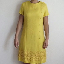 Vintage 1950s 50s Carol Craig Canary Yellow Linen and Lace Shift Sheath ... - $43.99