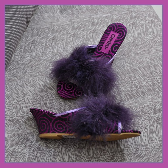 Exotic Fluffy Purple Feather Satin and Soft Leather Wedge Slide On Mule Slippers