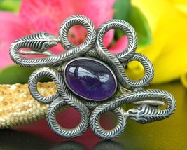 Vintage Coiled Snakes Brooch Pin Amethyst Cabochon Sterling Silver 925 - $49.95