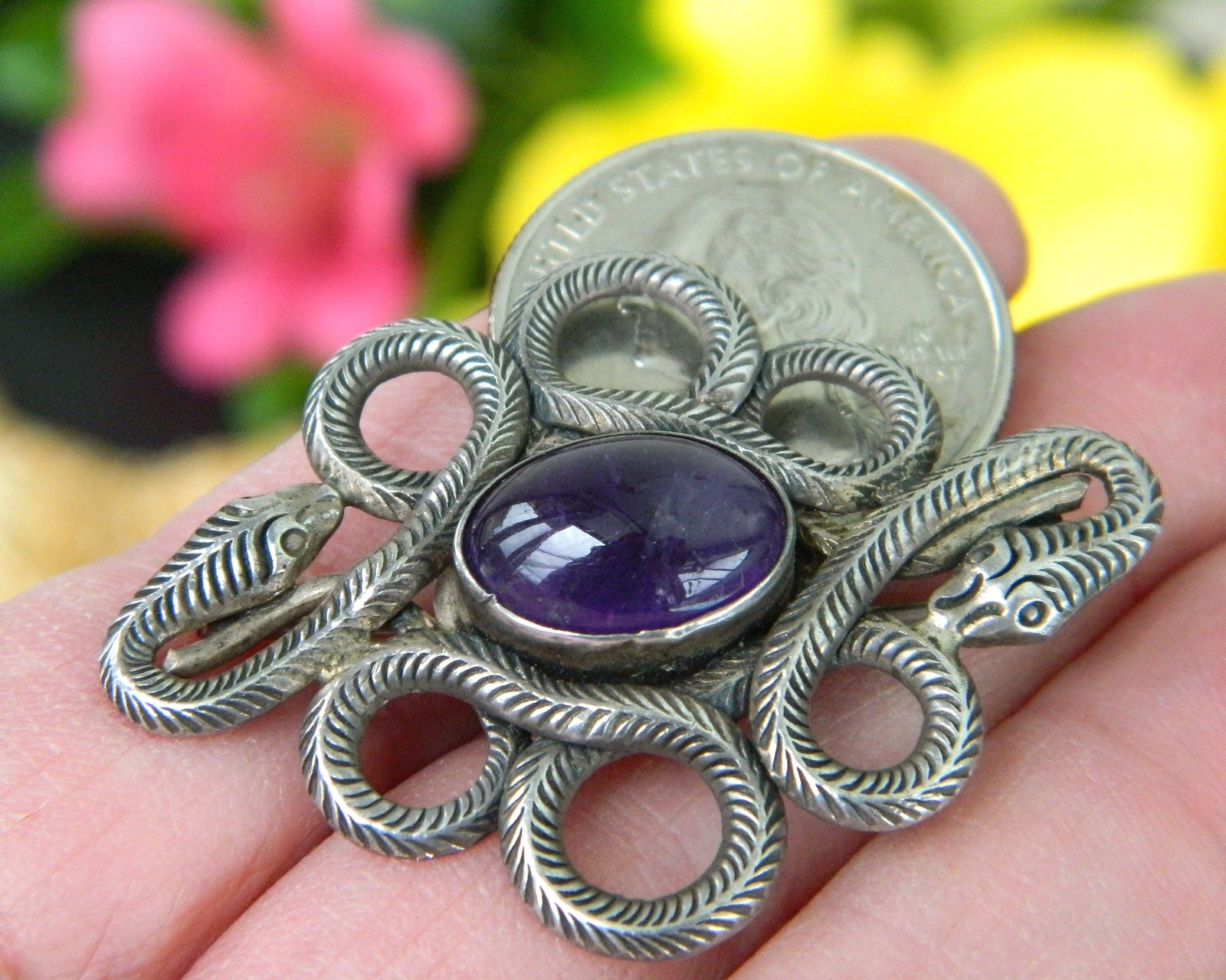 Vintage Coiled Snakes Brooch Pin Amethyst Cabochon Sterling Silver 925