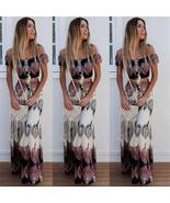 Two Piece Outfits Totem Print Women Sexy Backless Off Shoulder Boho Crop... - $28.00