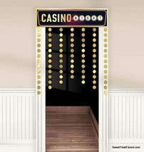 CASINO Decorative Door Curtain Party Decoration Banner Stumps Roll Gold ... - $14.80