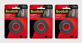 "3 ~ Scotch 1"" W x 60"" L Mounting Tape BLACK Moisture Resistant Extremely... - £29.06 GBP"