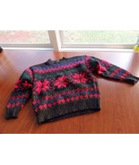 GAP Sweater Mens Size L Poinsettia Ugly Christmas Sweater - £13.37 GBP