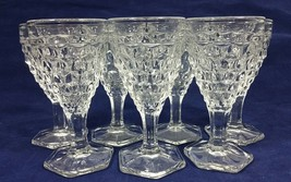 "Vintage Fostoria American Clear Pressed Glass 4 1/2"" Footed Wine Glasses Seven - $111.99"