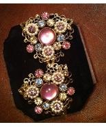 Stunning Gold Filigree Vintage Rose Moonstone, Pearls, & Rhinestone Earr... - $45.00