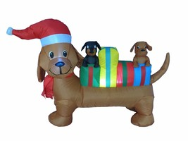 Christmas Inflatable Dog Puppy Pet Blowup Lighted Outdoor Santa Yard Dec... - $65.00