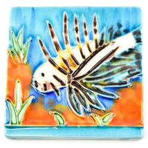 """Jaco Hand-Painted Lionfish Ocean Fish Raised Relief High Gloss 3"""" Tile Magnet image 1"""