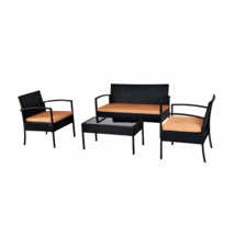 Home Outdoor Garden Patio 4-Piece Cushioned Seat Black Wicker Sofa Furni... - $329.99