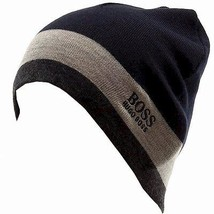 Nwt HUGO BOSS Men's Navy Blue Gray Ciny Wool Logo Hat Ski Beanie One Size - $45.82