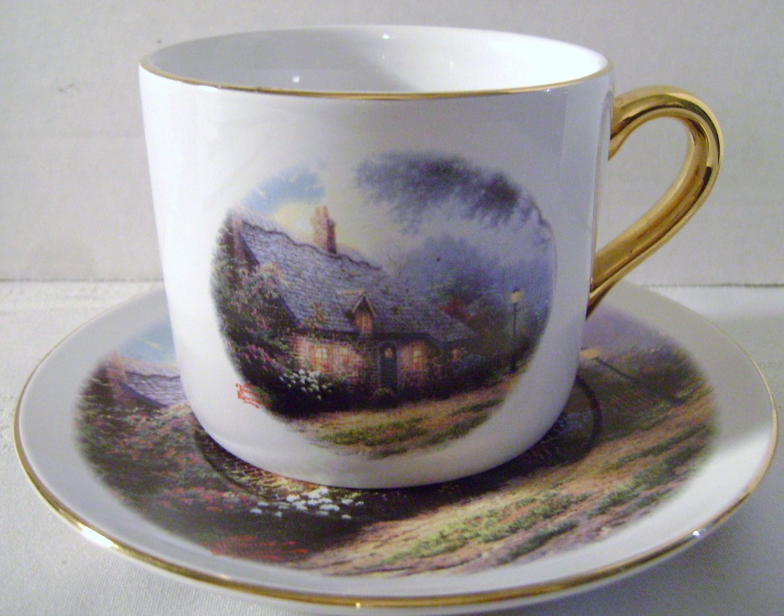 Thomas Kinkade Moonlight Cottage Cup & Saucer Set - $15.00