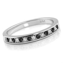0.24ct Alternating Black & White Diamond Wedding Ring Band - $318.41+