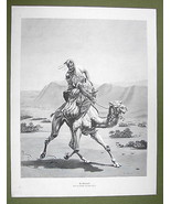 "ARAB Mail Delivery Desert Mailman Riding Camel - VICTORIAN Era Print 15""... - $20.19"