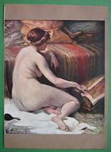 NUDE Young Woman Reading Magazine Relaxing Mood... - $16.81