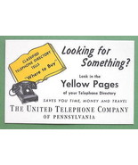 INK BLOTTER - 1950s  Yellow Pages the United Telephone Co of Pennsylvania - $2.94