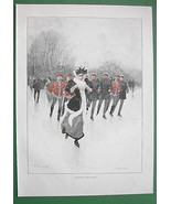 WINTER Skating Officerrs Chase Young Lady - VICTORIAN Era Color Engraving - $16.81