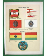 AUSTRIA Hungary Bolivia Naval Flags Coat of Arm... - $15.15