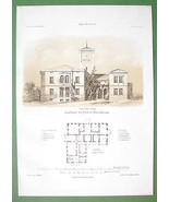 ARCHITECTURE PRINT 1860s : Poland Countryside Residence at Ujest Arch. L... - $28.61