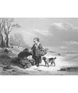 FREEZING WINTER Children Dog Gathering Wood - Antique Print Engraving - $16.81
