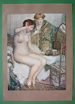 NUDE Young Lady in Bed Morning Toilette - COLOR... - $16.81