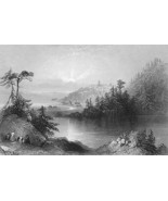 CANADA Lily Lake near St. John - 1841 Engraving... - $8.41