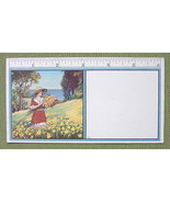 INK BLOTTER 1950s - with Ruler Summer Meadow Lady Picking Yellow Flowers - $3.36