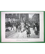 CHRISTMAS TIME in Big City Busy Street Scene - VICTORIAN Era Original En... - $16.81