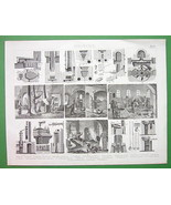 MINING Furnaces & Foundries Glass Mercury - Original Print Engraving - $11.78