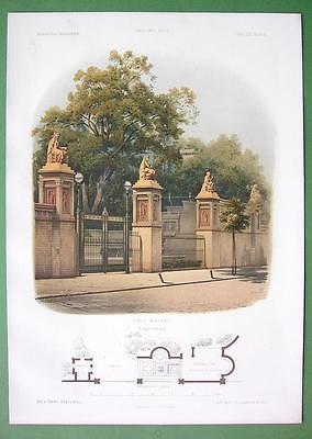 ARCHITECTURE PRINT COLOR 1860s : Germany Villa of Mr. Ravene Entrance Gate