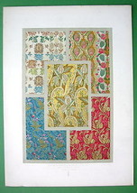 BAROQUE Silk Fabrics Textiles Floral Ornaments - COLOR Litho Print by Au... - $21.03