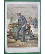 CHRISTMAS on Sailship Sailor Received Mail - VICTORIAN Era Color Engraving - $16.81