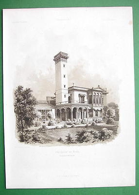 ARCHITECTURE PRINT 1860s : Germany View Villa of Industrialist Ravene at Moabit